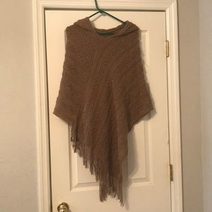 Sweaters - Brown hooded sweater poncho